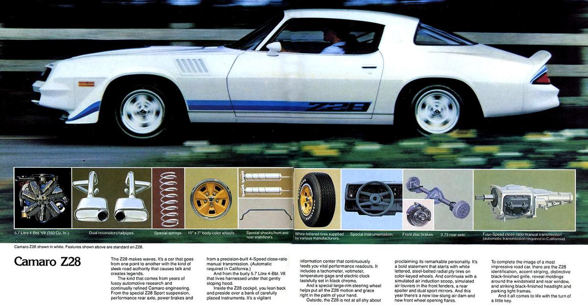 1978 Chevy Camaro Brochure Z 28//Rally Sport//Type LT