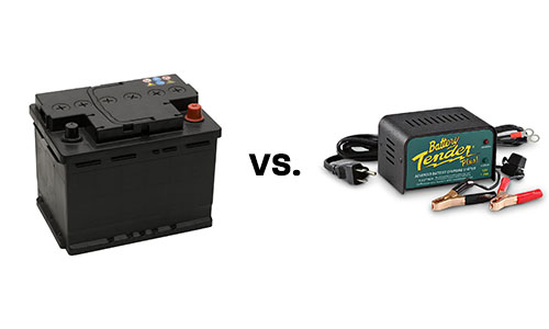 Removing your car battery vs. applying a battery tender.