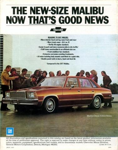 1978 Malibu Brochure Back Cover