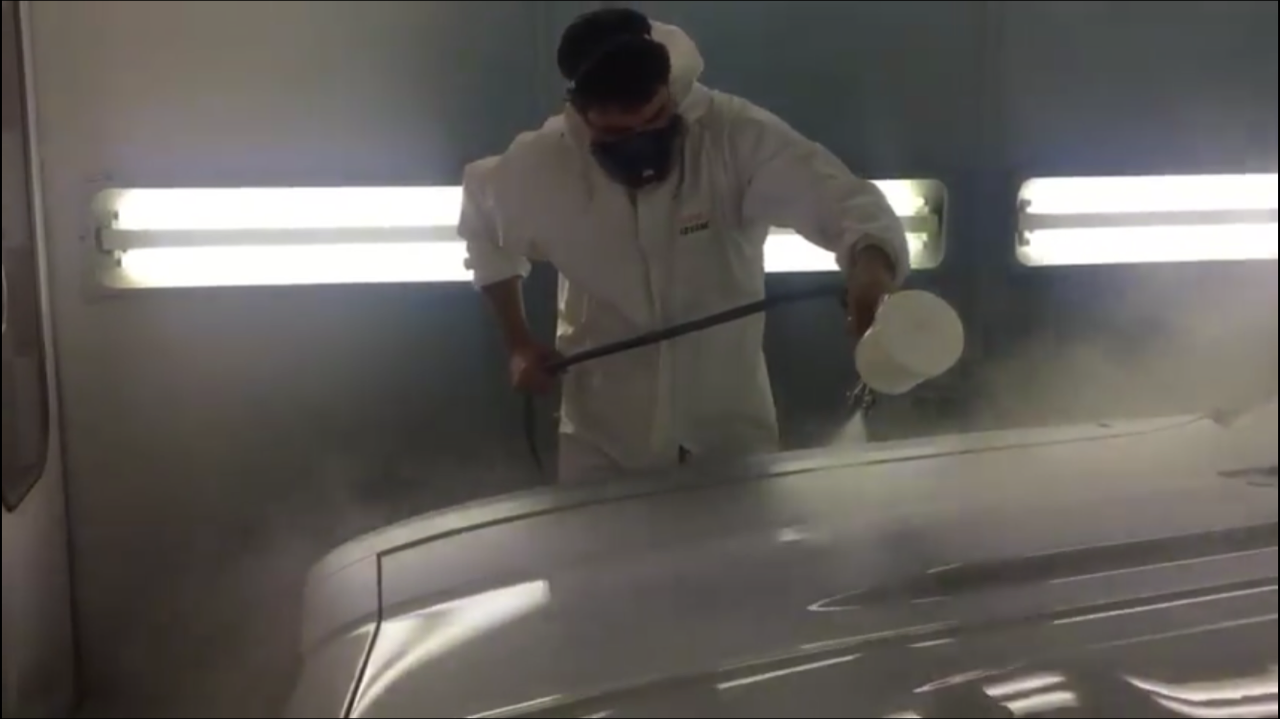 1969 Chevelle in the paint booth