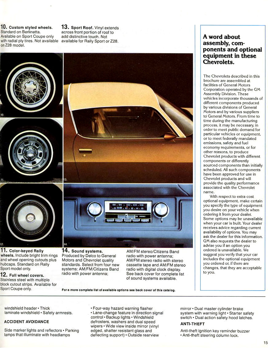 1979 Camaro OEM Brochure - Camaro Available Options Continued