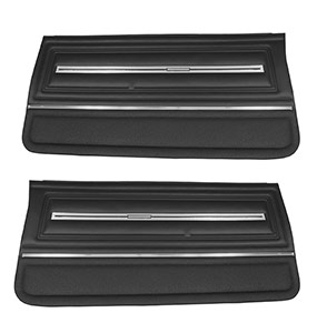 1966 Chevelle Front Door Panels, Pre-Assembled, Black