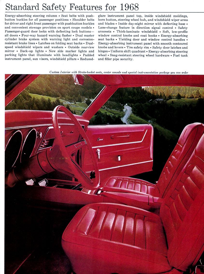 1968 Camaro Standard Safety Features