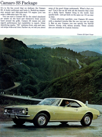 1968 Camaro Super Sport Details