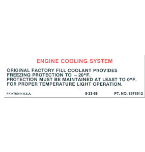 1970 Chevelle Engine Cooling System Decal