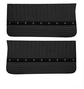 1966 Chevelle TMI Sport XR Front Door Panels, Black with Red Stitch, Silver Grommets