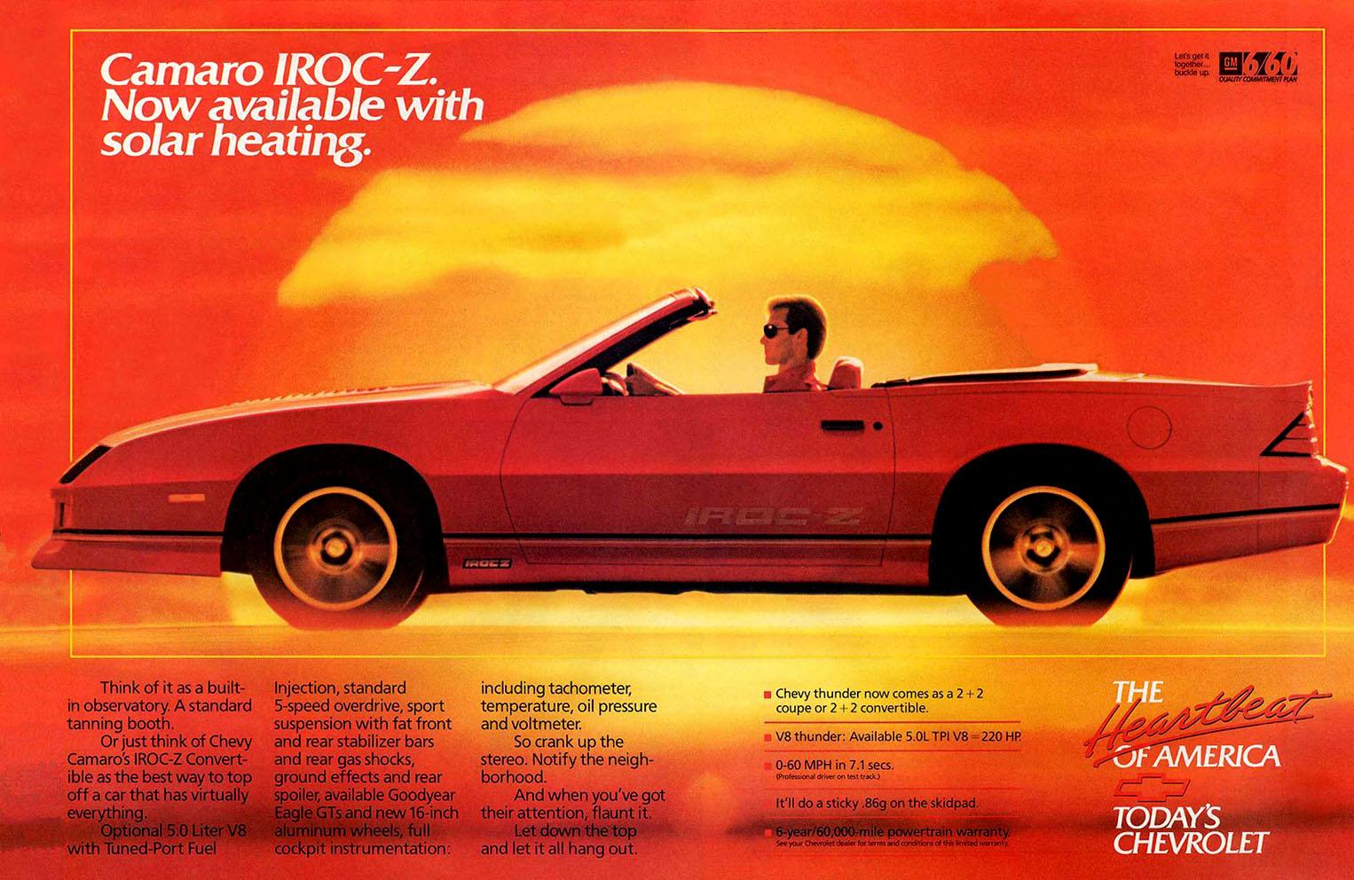 1988 Camaro Convertible Ad