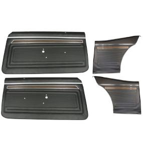 1970 Nova 1971 Nova 1972 Nova Coupe Door Panel Set Black Pre-Assembled Premium Quality