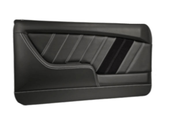 1968 Camaro TMI Sport R Front Molded Door Panels, Black with Red Stitch: 11-80051-2295-99-RS