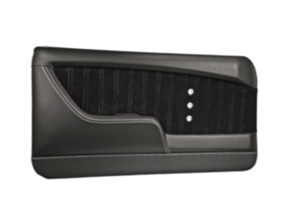 1968 Camaro TMI Sport XR Front Molded Door Panels, Black with Red Stitch, Stainless Grommet