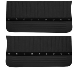 1968 Chevelle TMI Sport XR Front Door Panels, Black with Red Stitch, Silver Grommets