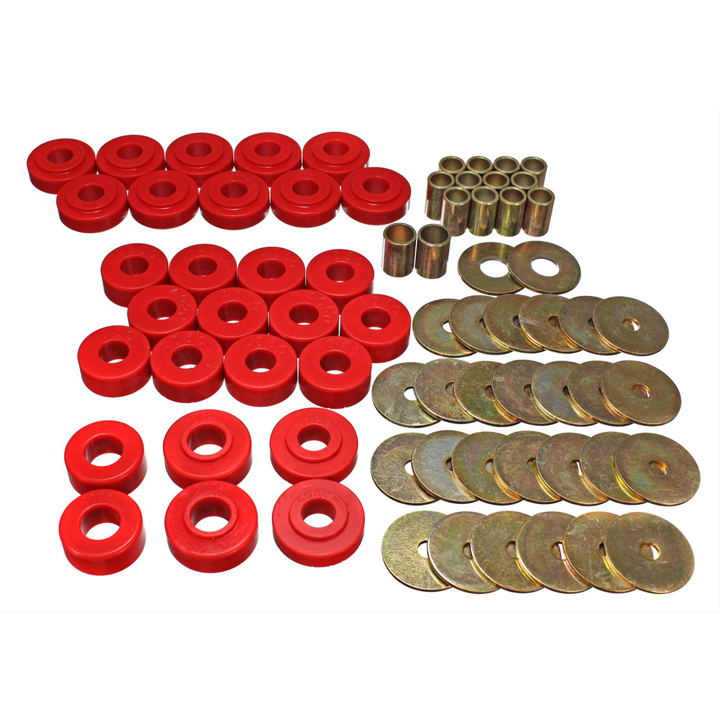 1965-1967 Chevelle Polygraphite Body Mount Kit, Red: 3-4111R