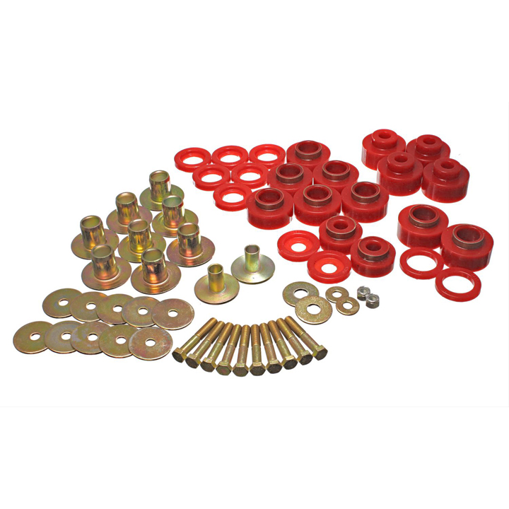 1968-1972 Chevelle Coupe Energy Suspension Polyurethane Body Mount Set, Red: 3-4170R