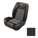 1968 Camaro Houndstooth TMI Sport R Bucket Seat Upholstery, Black with Red Stitch
