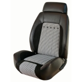 1969 Camaro Houndstooth TMI Sport R Seat Upholstery Front Buckets Only, Black w/ Red Stitch