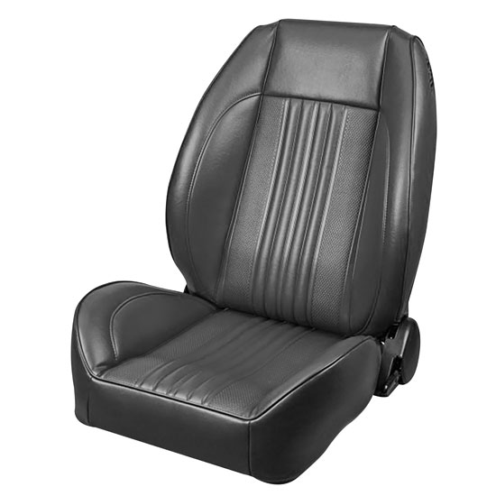 1970 El Camino Pro Series OEM Style Low-Back Seats without Headrests, Black Madrid Grain Vinyl