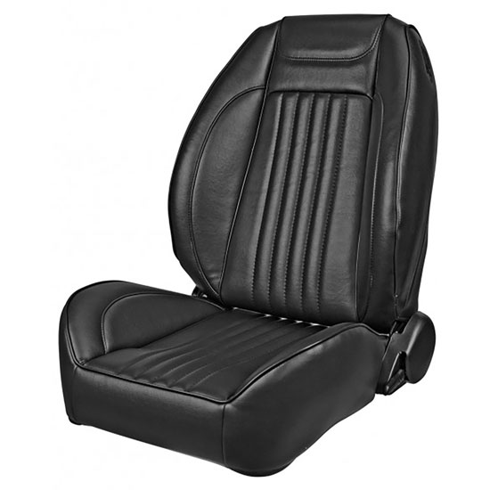 1971-1972 El Camino Pro Series OEM Style Low-Back Seats without Headrests, Black Madrid Grain Vinyl