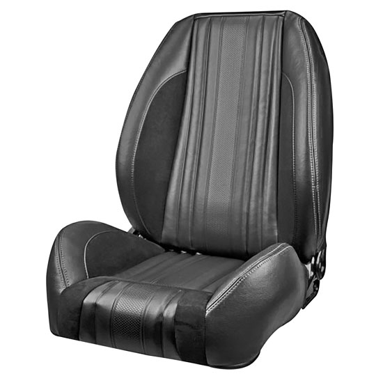 1970 El Camino Sport R Pro Series Low-Back Seats without Headrests, Black with Red Stitch