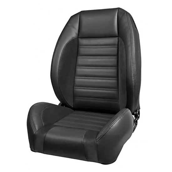 1968 El Camino Sport R Pro Series Low-Back Seats without Headrests, Black with Red Stitch