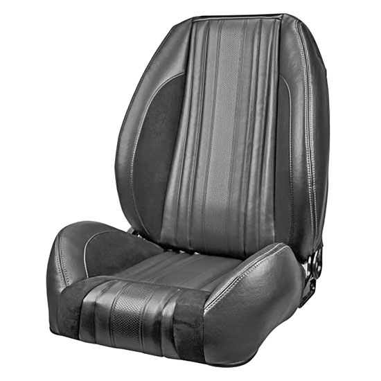 1969 El Camino Sport R Pro Series Low-Back Seats without Headrests, Black with Red Stitch