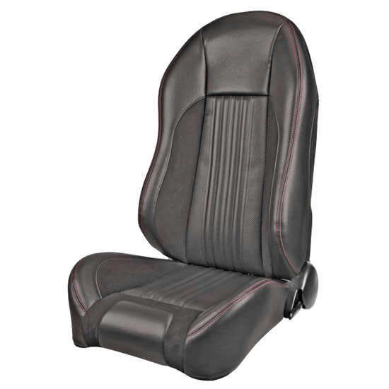 1970 El Camino Sport R Pro Series High-Back Seats, Black with Red Stitch