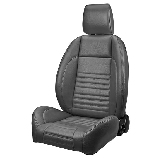 1968 El Camino Pro Series OEM Style Low-Back Seats with Headrests, Black Madrid Grain Vinyl