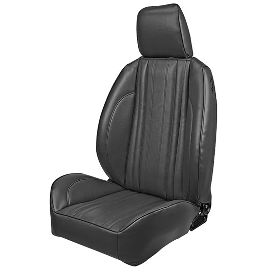 1969 El Camino Pro Series OEM Style Low-Back Seats with Headrests, Black Madrid Grain Vinyl