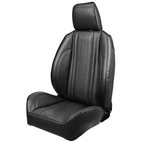 1970 El Camino Pro Series OEM Style Low-Back Seats with Headrests, Black Madrid Grain Vinyl