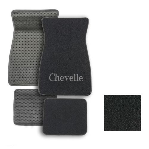 1964-1973 Chevelle ACC Carpeted Floor Mats Chevelle Logo 01 Black