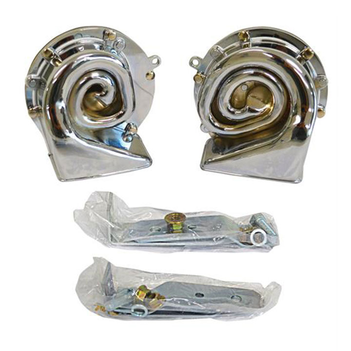 1967-1969 Camaro Chrome Plated Delco Remy Style Horn Set With Brackets