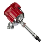 1964-1977 Chevelle Chrome Aluminum HEI Electronic Distributor with 50K Coil - Red Super Cap