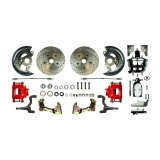 1967-1969 Camaro Front Disc Brake Conversion Kit, 8 Inch Chrome Booster, Red Show N' Go