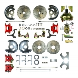 1964-1972 Chevelle 4 Wheel Disc Brake Kit, 9 Inch Booster, Red Show N' Go