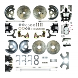 1968-1974 Nova 4 Wheel Disc Brake Kit, 8 Inch Chrome Booster, Black Show N' Go, Non-Staggered