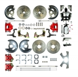 1967-1969 Camaro 4 Wheel Disc Brake Kit, 8 Inch Chrome Booster, Red Show N' Go, Non-Staggered