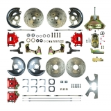 1967-1969 Camaro 4 Wheel Disc Brake Kit, 11 Inch Booster, Red Show N' Go, Non-Staggered