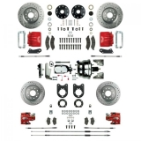 1967-1969 Camaro Signature Four Wheel Disc Brake Conversion Kit, Stock Height, Chrome Upgrade, Red Show N' Go