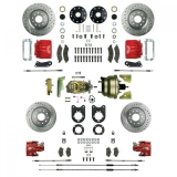 1967-1969 Camaro Signature Four Wheel Disc Brake Conversion Kit, Stock Height, 8 Inch Dual Booster, Red Show N' Go
