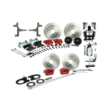 1967-1969 Camaro Signature 4 Wheel Power Disc Brake Kit, 2 Inch Drop, Chrome Upgrade, Red Calipers
