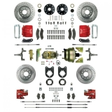 1967-1969 Camaro Signature Four Wheel Disc Brake Conversion Kit, 2 Inch Drop, 8 Inch Dual Booster, Red Show N' Go