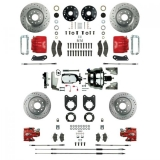 1968-1969 Camaro Signature Four Wheel Disc Brake Conversion Kit, Stock Height, Chrome Upgrade, Red Show N' Go, Staggered Shocks