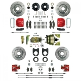 1968-1969 Camaro Signature Four Wheel Disc Brake Conversion Kit, Stock Height, 8 Inch Dual Booster, Red Show N' Go, Staggered Shocks