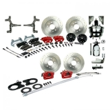 1968-1969 Camaro Signature Four Wheel Disc Brake Conversion Kit, 2 Inch Drop, Chrome Upgrade, Red Show N' Go, Staggered Shocks