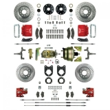 1968-1969 Camaro Signature Four Wheel Disc Brake Conversion Kit, 2 Inch Drop, 8 Inch Dual Booster, Red Show N' Go, Staggered Shocks