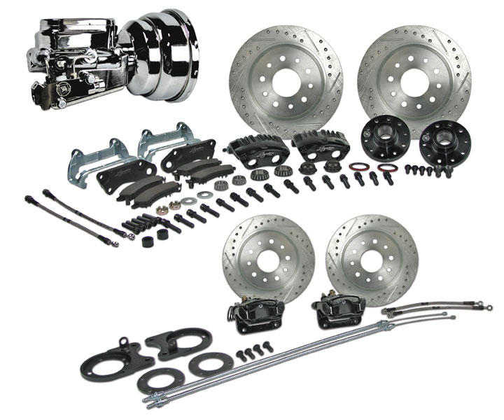 1964-1972 Chevelle Signature 4 Wheel Power Disc Brake Kit, 2 Inch Drop, Chrome Upgrade, Black Calipers