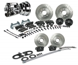 1964-1972 El Camino Signature 4 Wheel Power Disc Brake Kit, 2 Inch Drop, Chrome Upgrade, Black Calipers