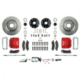 1967-1969 Camaro Signature Manual Front Disc Brake Conversion Kit, Stock Height, Chrome Upgrade, Red Show N' Go
