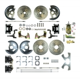 1964-1972 Chevelle Complete 4 Wheel Disc Brake Kit Manual, Drilled & Slotted Rotors, Black Calipers