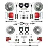 1967-1969 Camaro Signature Four Wheel Manual Disc Brake Conversion Kit, Stock Height, Chrome Upgrade, Red Show N' Go
