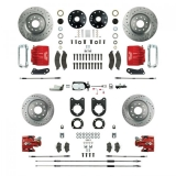 1967-1969 Camaro Signature Four Wheel Manual Disc Brake Conversion Kit, 2 Inch Drop, Chrome Upgrade, Red Show N' Go
